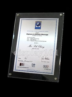 Acrylic Certificate Frame Each Comprises Two 3mm Thick Panels Holds A Paper Sandwiched In Between